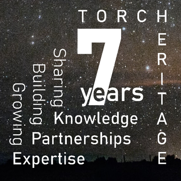 7 years Heritage logo on a starry background: Sharing Knowledge, Building Partnerships, Growing Expertise