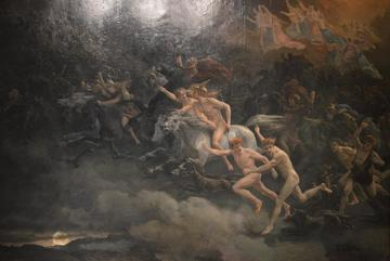 a painting of the wild hunt the restless dead