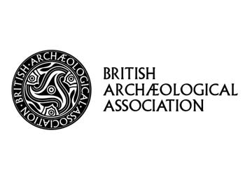 The logo of The British Archaeological Association: A black and white rosetta next to their name