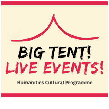 Logo of big tent, pale yellow background pink lines top and bottom