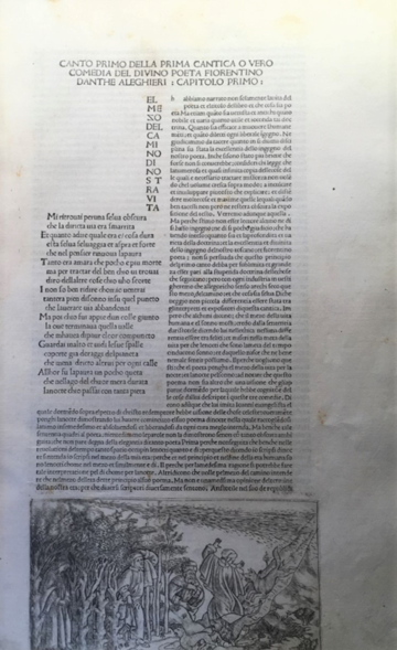 first 21 lines of Dante's inferno with etching decoration around the main body of work