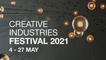 Creative Industries Festival logo showing a series of lights on strings and the festival dates, 24-27 May