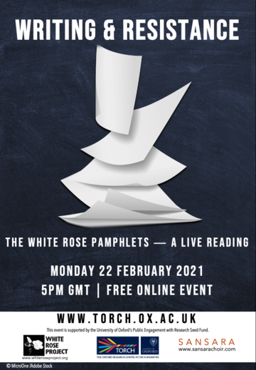 Event poster - Writing & Resistance heading, falling papers and event date and time details.