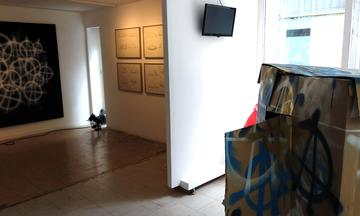 Art installation at the gallery space in Athens. Photographed by the author.