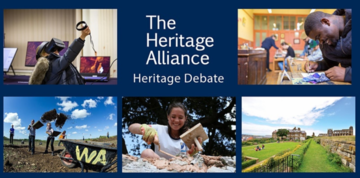 Heritage Debate cover image. Heritage Alliance is written with white letters in the middle, surrounded by five pictures of human activity related to heritage