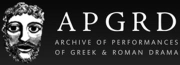 Black and white logo, with white lettering spelling out APGRD on a black background, with Roman mask