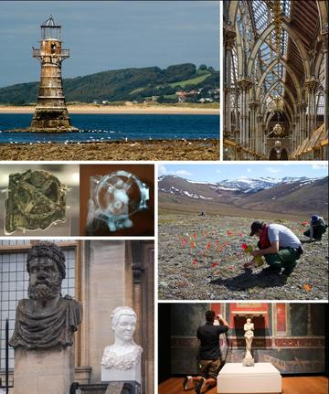 Six pictures depicting the many facets of heritage