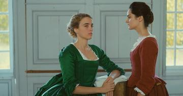 Still from the film 'Portrait of a Lady on Fire' showing two women in conversation