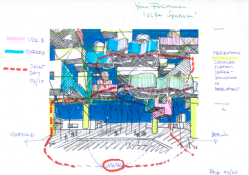 Brightly coloured technical drawing
