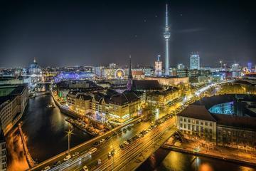 Brightly lit nightscape of Berlin