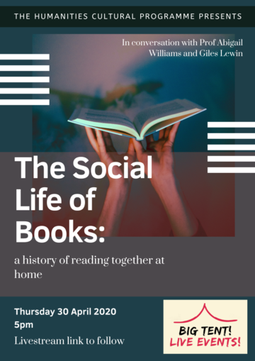 """""""The Social Life of Books"""" on a shadowy blue, red background with a pair of hands holding up an open book"""