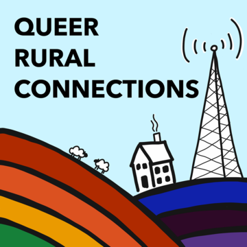 drawn house and radio tower (in black and white) on rolling hills of rainbow colours