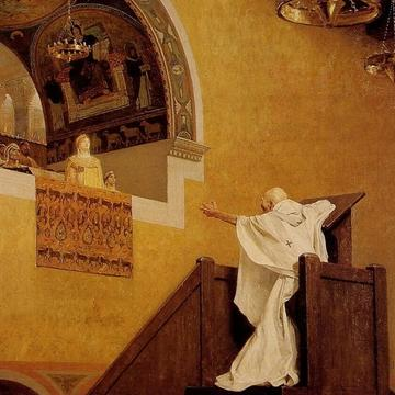 painting of preacher giving sermon to woman on balcony