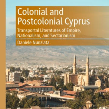 Colonial and postcolonial Cyprus book cover showing a cityscape with mountains in the background