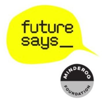 Yellow speech bubble with future says written in the middle, to the right is a small black and grey circular logo for the Minderoo Foundation