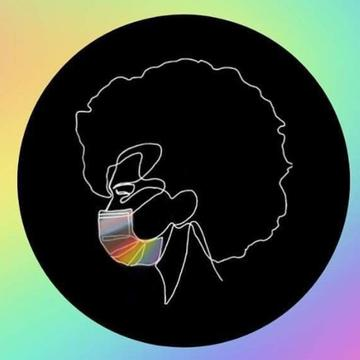 A water colour rainbow background with a black circle in the middle and a silhouette of a person wearing a rainbow coloured mask