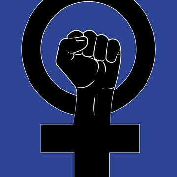 A fist rising up through a feminist logo of a round circle with a cross underneath set against a blue background