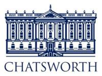 The Chatsworth House logo: a drawing of the house's facade in blue with 'Chatsworth' written under in with capital letters.