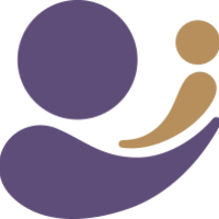 Two abstract shapes reminiscent of a purple and a beige comma representing a mother holding a baby