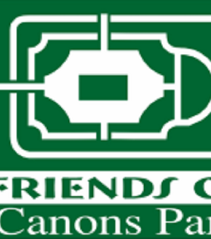 Friends of canons park logo depicting the schematic outline of the park