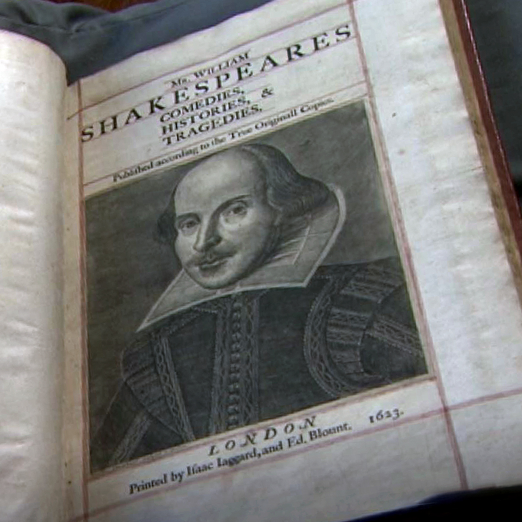 The first page of the folio depicting William Shakespeare. The text reads: Mr. William Shakespeares comedies, histories, & tragedies. Published according to the True Originall Copies. London. Printed by Isaac Iaggard, and Ed. Blount. 1623.