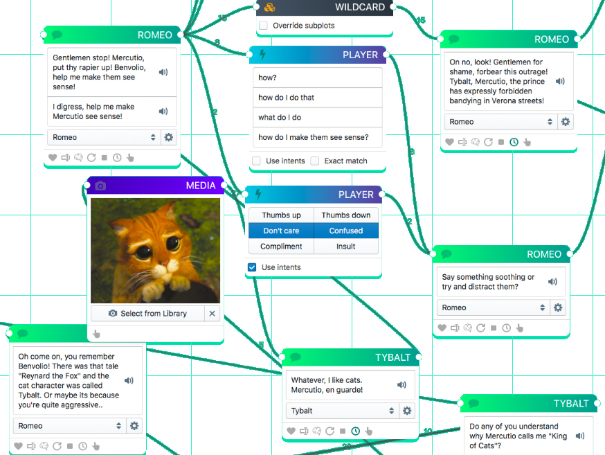Screenshot from the coding interface visualising the conversation flow. Each response appears typed into a square box. Lines connect the boxes, linking questions, responses and follow-up questions.